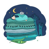 Princess on the Pea. Blankets and pillows. Hand drawing isolated objects on white background. Vector illustration. Coloring book. night landscape Stock Images