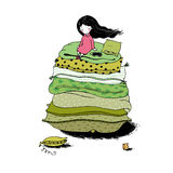 Princess on the Pea. Blankets and pillows. Hand drawing  objects on white background. Vector illustration Stock Image