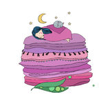 Princess on the Pea. Blankets and pillows. Royalty Free Stock Photography