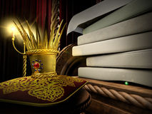 Princess and the Pea. 3d illustration of fairy tale about princess and the pea Stock Photo