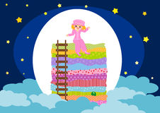 Princess and the pea. Illustration of children story Princess and the pea Stock Photo