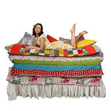 Princess and the Pea isolated white background Stock Photos