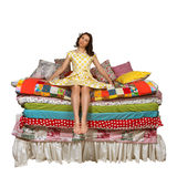 Princess and the Pea isolated white background Royalty Free Stock Photos