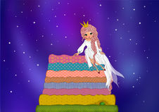 The princess and the pea. Children story with night sky full of stars background illustrations Royalty Free Stock Images