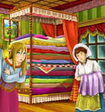 Princess and the Pea - The princesses castles - knights and fairies - Beautiful Manga Girl - illustration for the children Royalty Free Stock Photos