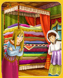 Princess and the Pea - The princesses castles - knights and fairies - Beautiful Manga Girl - illustration for the children Stock Photo