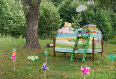 The Princess and the pea wedding decorations. Fairytale photoshoot. The Princess and the pea wedding decorations Royalty Free Stock Image