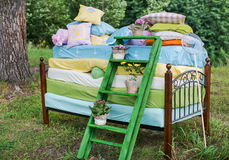 The Princess and the pea wedding decorations. Fairytale photoshoot. The Princess and the pea wedding decorations Stock Images