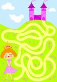 Princess picking flowers maze game royalty free stock images