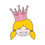Princess with pink crown vector isolated on white background Royalty Free Stock Photography