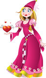 Princess in pink dress give a heart Stock Image