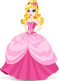 Princess in pink dress. The vector illustration of princess in pink dress with blue eyes and pink bow at blond hair. For little girls stock illustration