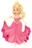 A princess with a pink gown. Illustration of a princess with a pink gown on a white background vector illustration