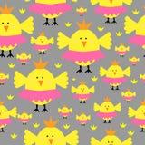 Princess pisklęcego kurczaka bezszwowy wzór Zdjęcie Royalty Free