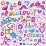 Princess Planlägga Element Anteckningsbok Klotter royaltyfri illustrationer