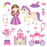 Princess, pony and accessories set. Vector illustration of princess, castle, carriage, pony and girl accessories set stock illustration