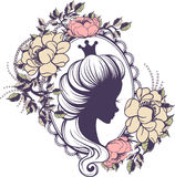 Princess portrait in floral frame Royalty Free Stock Photos