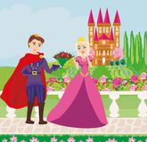 The princess and the prince in a beautiful garden. Vector Illustration Stock Image