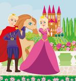 The princess and the prince in a beautiful garden. Vector Illustration Royalty Free Stock Photos