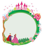 Princess with prince and the carriage - frame Royalty Free Stock Images