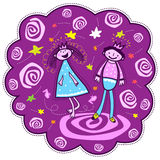 Princess and prince dancing. The princess and the prince dance. On a purple background multicolored stars and spirals. Drawing in a children's style vector illustration