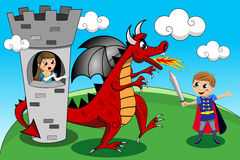 Princess Prince Dragon Tower Duel Kids Tale royalty free illustration