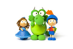 Princess, prince and dragon on white Royalty Free Stock Photography