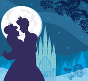 Princess and prince kiss in the night Stock Image
