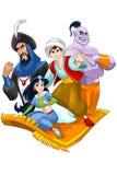 Princess prince people East flying carpet character cartoon Stock Image