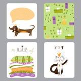Princess przyjęcie set karty Zdjęcie Stock