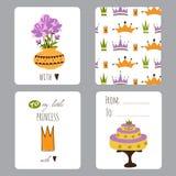Princess przyjęcie set karty Fotografia Royalty Free