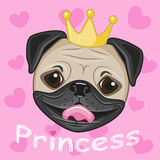 Princess Pug Dog. With hearts on a pink background Stock Photography