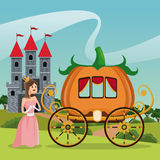 Princess pumpkin carriage castle landscape Royalty Free Stock Image