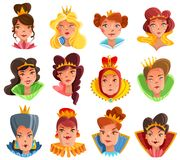 Princess And Queen Heads Set. Princess and queen heads cartoon set with different crowns and hairdo isolated vector illustration vector illustration