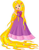 Princess Rapunzel. Princess with long hair, flowers are on a separate layer Royalty Free Stock Photography