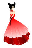 Princess in red dress. Vector illustration Royalty Free Stock Photo