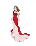 Princess in red dress. The beautiful princess bride in red dress vector illustration