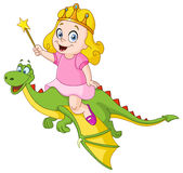 Princess riding dragon Stock Photo