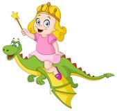 Princess riding dragon Stock Photo