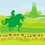 Princess riding a horse into the castle Royalty Free Stock Photos