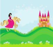 Princess riding a horse into the castle Stock Image