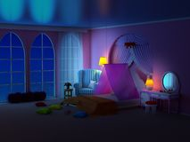 Princess room with armchair night. Fairy tale princess room at night. The pink bedroom girl with armchair, canopy and large windows. 3d illustration royalty free illustration