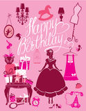 Princess Room with glamour accessories, furniture, cage, gift bo Royalty Free Stock Photo