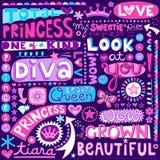 Princess słowo Doodles piękna Pagent wektor Illustr Zdjęcia Stock