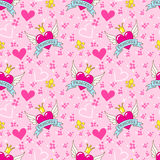 Princess seamless pattern, heart with wings and crown Royalty Free Stock Photo