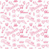 Princess seamless pattern. Princess pink seamless pattern for girl`s design Stock Image