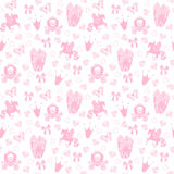 Princess Seamless Pattern for textile with castle, crown, butterfly, diamond. Abstract seamless pattern for girls Stock Photography