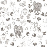 Princess Seamless Pattern for textile with castle, crown, butterfly, diamond. Abstract seamless pattern for girls. Princess Seamless Pattern for textile with vector illustration