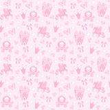 Princess Seamless Pattern for textile with castle, crown, butterfly, diamond. Abstract seamless pattern for girls. Princess Seamless Pattern for textile with stock illustration