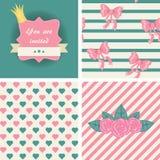 Princess seamless patterns Stock Photos